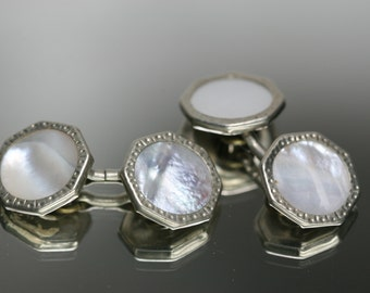 Vintage Silvertone Metal and Shell Cufflinks