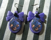 Jack's Pumpkin Patch Nightmare before Christmas inspired rhinestone embellished oval bow cameo earrings- SALE