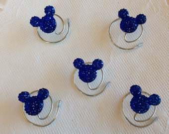 MOUSE EARS Hair Swirls for Themed Wedding in Dazzling Royal Blue Acrylic