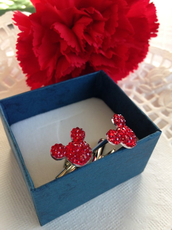 MOUSE EARS Cufflinks for Wedding Party in Dazzling Red Acrylic Gift Box Included FREE