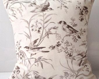 Decorative Throw Pillow Cover Aviary Bird Pillow Accent Pillow Taupe Pillow Cushion Linen Blend