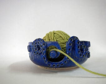 Royal Blue Decorative Yarn Bowl-ceramic yarn bowl
