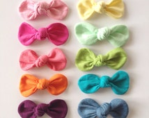 Rainbow- Mini OR Medium Fabric Knot Bows-CHOOSE color and size