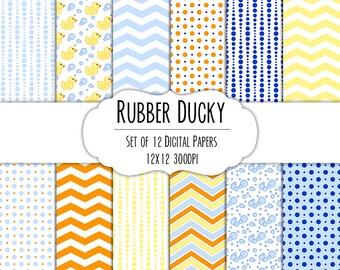 Rubber Ducky Digital Scrapbook Paper 12x12 Pack - Set of 12 - Polka Dot, Chevron, Ducky, Bubbles - Instant Download -Item#8016