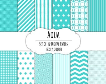 Aqua Teal Digital Scrapbook Paper 12x12 Pack - Set of 12 - Polka Dots, Chevron, Stripes, Gingham - Instant Download - #8044