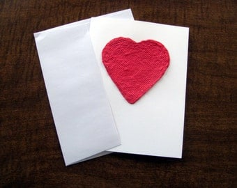 Valentine's Day card - Plantable red heart plantable love card embedded with wildflower seeds