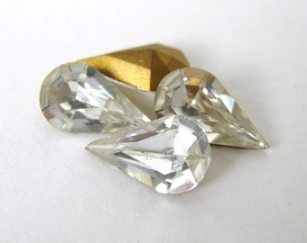 Vintage Swarovski Crystal Rhinestone Clear Pear Teardrop Glass Jewel 13x8mm swa0523 (4)