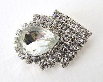 Vintage Rhinestone Crystal Pear Jewel Clear Sew On Silver Metal Shank Deco Czech 35mm but0260 (1)