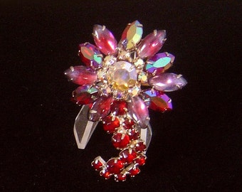 Vintage rhinestone flower umbrella style red rhinestone Brooch