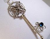 Key Necklace Blue Topaz Jewelry Silver Necklace Star Necklace