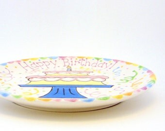 "10"" Birthday Cake Plate - Personalized Happy Birthday Plate - Hand Painted Ceramic Plate - Special Occasion Plate - Personalized Kids Plate"