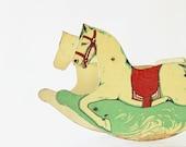Rock It - Vintage Wooden Rocking Horse - Kids - Baby - Children - Mint - Pastel - Red - 1940s - Home Decor - Photo Prop