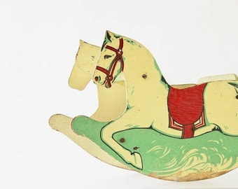 Rockin Around - Christmas - Vintage Wooden Rocking Horse - Kids - Baby - Children - Mint - Pastel - Red - 1940s - Home Decor - Photo Prop