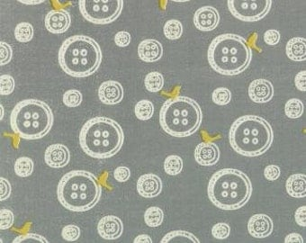 SALE Little Things Organic collection from Moda Buttons on grey 1 yard
