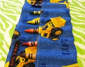 CAT Construction Vehicles Print Crayon Roll w/ Blue Ribbon and 8ct Crayola Crayons