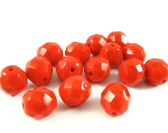 20 - Round Czech Fire Polished Faceted Glass Beads - Opaque Bright Red - 8mm - FPRED8