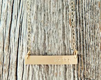 Gold Filled Bar Necklace, Sterling Silver Bar Necklace, Charm Necklace, Hand Stamped Gold Necklace, Gold Filled Shine Necklace