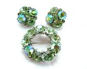 Signed WEISS Designer Vintage Jewelry Set Pastel Peridot Aurora Borealis Weddings Bridal Jewelry