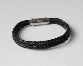 Men Leather Cuff Dark Brown Braided Leather Bracelet with Stainless Magnetic Clasp