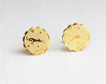 Gold Astrology Studs - Aries