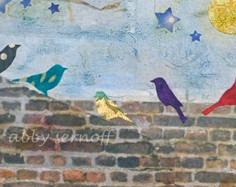 Small Original Bird Art Collage on 5 x 7 Canvas A Gathering