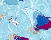 FABRIC - by the yard - Disney Frozen Fabric - Ice Skating Toss w/Glitter - In Stock