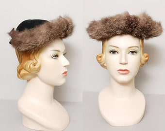 1940s Fur Trim Hat - Black Wool Hat with Rabbit Fur