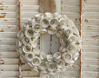 "9 ""  Book Wreath / Paper Rose Wreath / Book Lover Gift  / Romantic Wedding Decor"