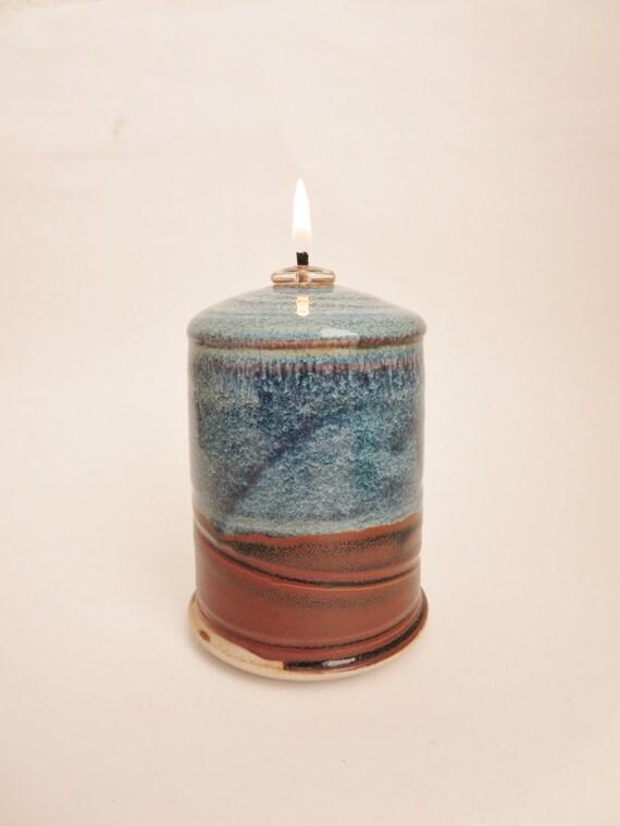 Handmade Ceramic Oil Lamps : Ceramic oil lamp gradient blue glazed handmade art pottery