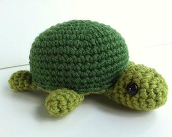 Amigurumi Crochet Turtle Plush Toy - Leaf Green and Pine Green Kawaii Turtle Gift Under 25 Nursery Decor Plushie Turtle Stuffed Animal Toy
