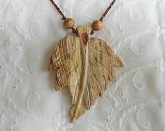 Jasper Leaf Stone Pendant Necklace   !!CLEARANCE SALE!!