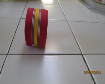 Ribbon, vintage grosgrain, warehouse find, never used,  red, yellow, navy and white stripe  1960's rayon/poly blend