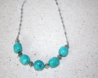 Chunky Turquoise Pendant Necklace on ornamental chain