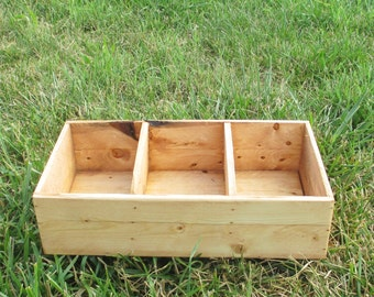Rustic Wood Drawer Organizer - Compartment Box For Storage or Display - Reclaimed Wood