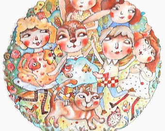 Original round illustration whimsical  Friends together  OOAK miliaart studio