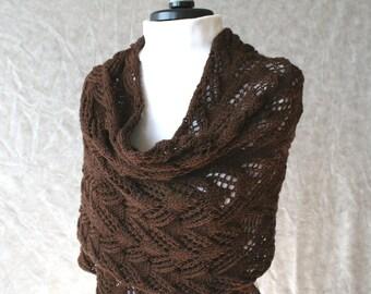 Hand knitted chocolate brown shawl scarf merino wool yarn Made to order