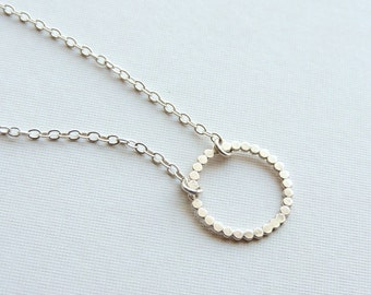 Eternity Necklace Sterling Silver Hammered Dot Circle Necklace Beaded
