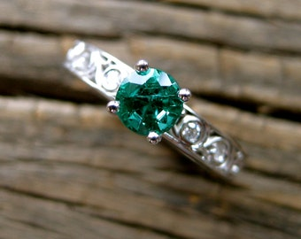 Forest Green Emerald Engagement Ring in 14K White Gold with Diamonds and Scrolls Size 7