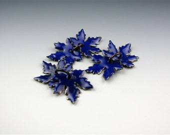 Enameled Small Maple Leaves / Cobalt Enamel  / Made to Order