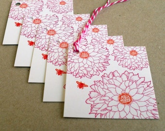 Dahlia and Bee Gift Tags - 4 pack