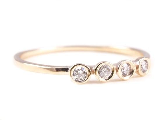 Diamond Ring, 14K Gold Ring, 4 Diamonds Ring. Yellow Gold Ring, White Gold Ring, Rose Gold Ring, Diamonds Ring, Engagement Ring