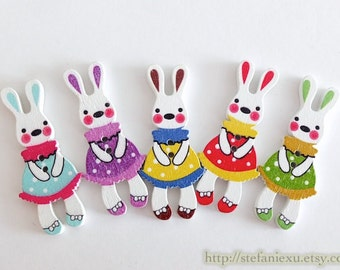5PCS Wooden Buttons, Printed Color -Colorful Holiday Blue Green Purple Red Yellow Lace Polka Dots Dress Bunny Bunnies Rabbit, Choose Color