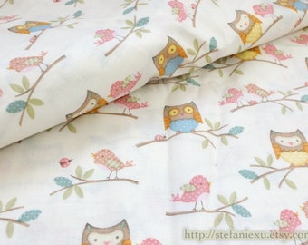 SALE CLEARANCE - 1 Yard Owl Hoot Collection, Lovely Spring Colorful Polka Dots Baby Owls Birds On Branches(Bleach White)-Cotton Fabric