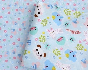 Lovely Zoo Animals Panda Bunny Elephant Duck Flowers Trees On Sky Blue, Choose Pattern - Cotton Fabric (1/2 Yard)
