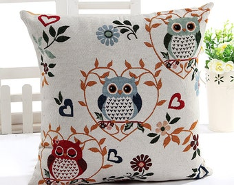 Hoot Owl Collection (B), Lovely Owls On Heart Floral Wreath - Embroidery Fabric, Square Panel Home Decor Fabric (1 Panel, 21.5x21.5 Inches)