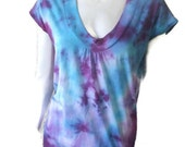 Purple and Blue Tie Dye Banded Blouse