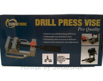 New in Box EUROTOOL Drill Press Vise - Secures Your Work