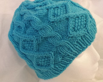 Aran Sweater Inspired Diamond Cable Knit Cap - Turquoise