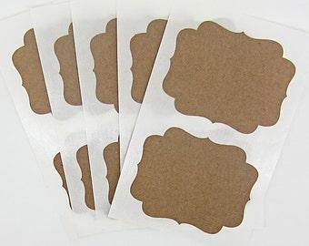 Kraft Sticker Labels Brown Fancy Bracket