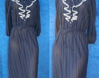 Vintage 70s 1970s Secretary Disco Ruffled Tuxedo Pinstriped Dress